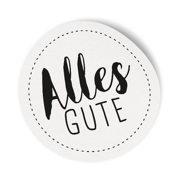 10x Sticker Aufkleber Alles Gute Weiß / Schwarz, Durchme...