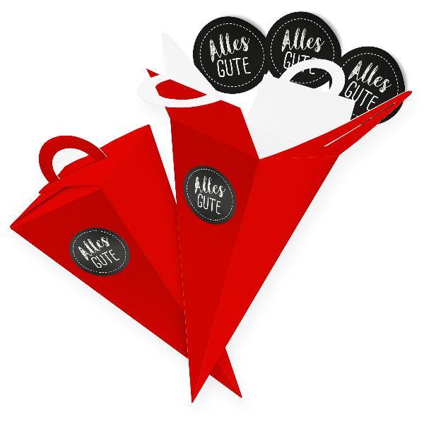 itenga SET V46 Alles Gute 24x Geschenktüte 14 cm, Rot + ...