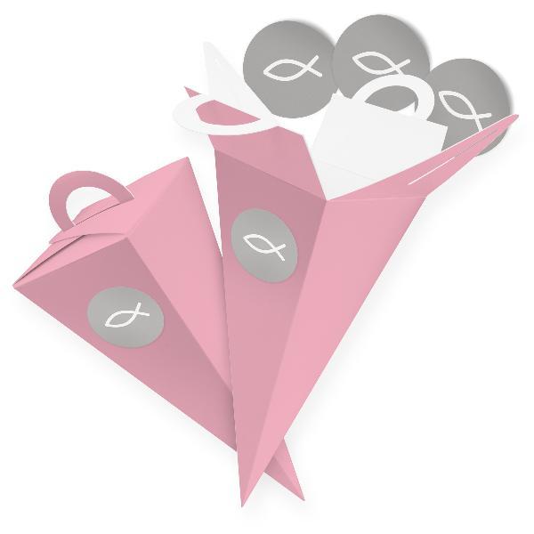 itenga SET V50 Fisch grau 24x Geschenktüte 14 cm, Rosa +...