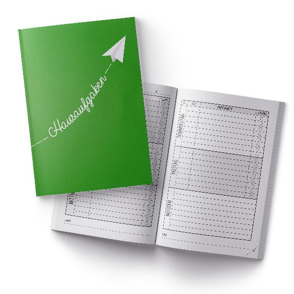 itenga Hausaufgabenheft Papierflieger Grün (Motiv 18) DI...