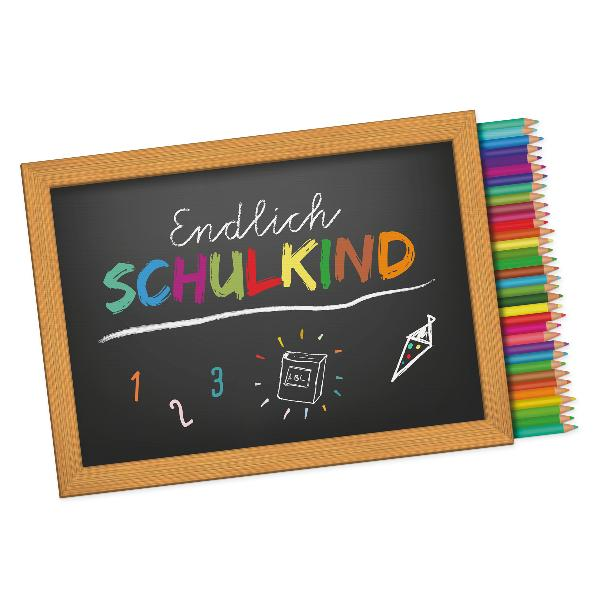 itenga 10x Aufkleber Sticker Endlich Schulkind / Stifte...