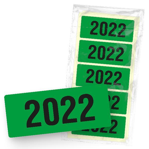 itenga 50x Jahresetiketten 2022 Grün rechteckig 6 x 2,5 ...