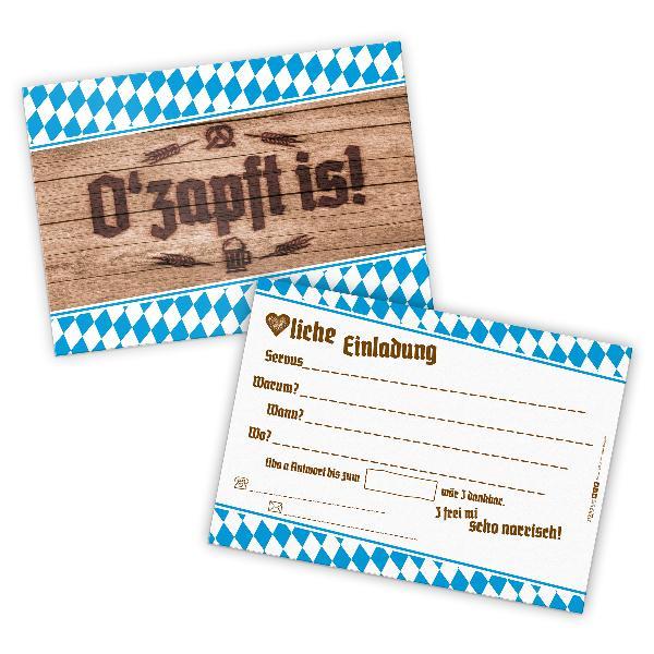 itenga 12x Einladungskarten O zapft is! Postkarte DIN A6...