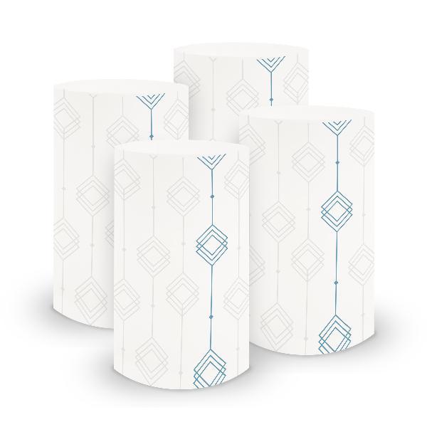 itenga 6x Windlicht klein Ornament weiß blau / nordic bl...