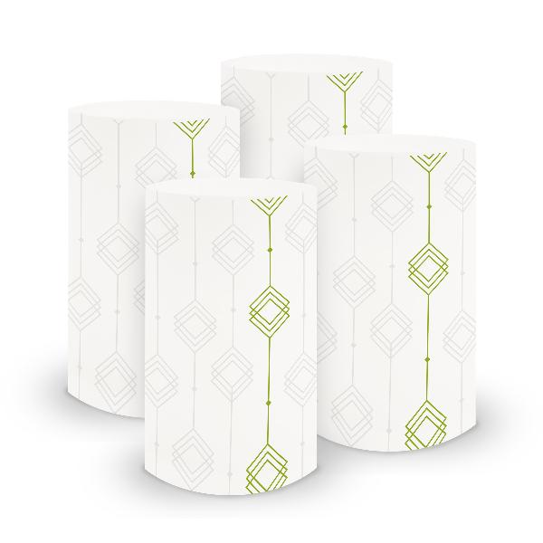 itenga 6x Windlicht klein Ornament weiß grün / frühlings...