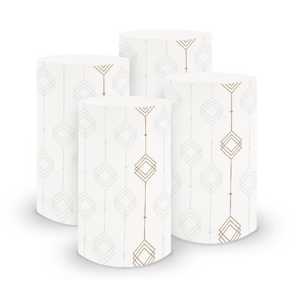 itenga 6x Windlicht klein Ornament weiß braun / latte ma...