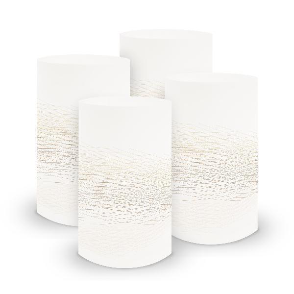 itenga 6x Windlicht klein Linien weiß braun / latte macc...