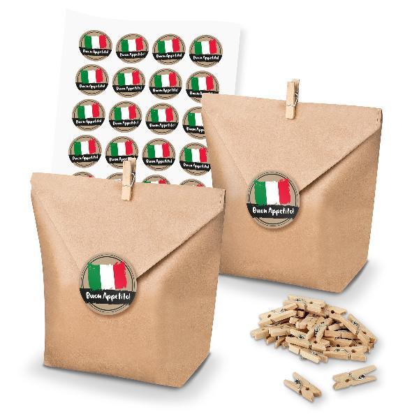 itenga SET 24x Geschenktüten + Klammern + Sticker Buon A...
