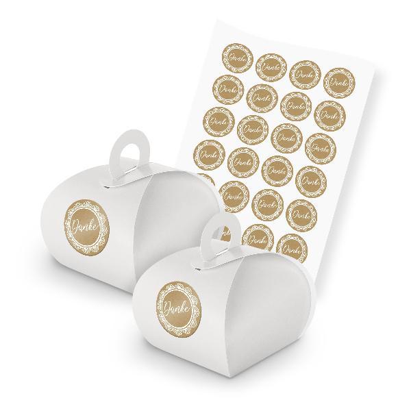 itenga SET 24x Geschenkschachtel weiß mit Griff + Sticke...