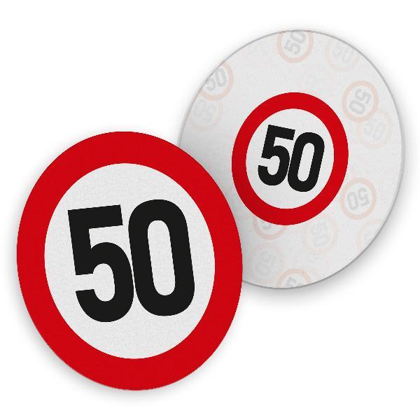 itenga 40x Bierdeckel Verkehrsschild 50 I Rot Weiß I Unt...