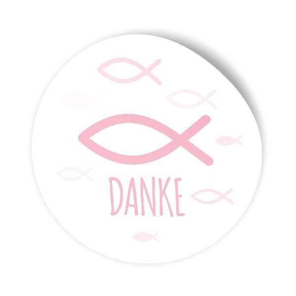 itenga 100x Sticker Fisch Danke rosa 4,0 cm rund