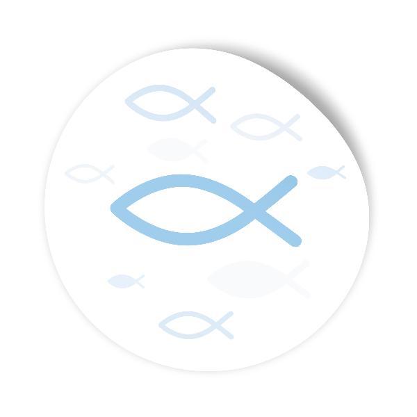 itenga 25x Sticker Fisch hellblau 4,0 cm rund