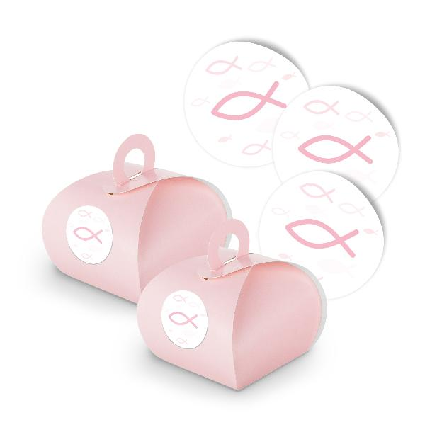 itenga SET Fisch Rosa 25x Geschenkschachtel rosa mit Gri...