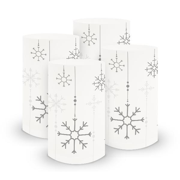 itenga 6x Windlicht klein Schneeflocken für Weihnachten ...