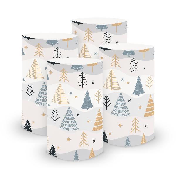 itenga 6x Windlicht klein Tannenbäume für Weihnachten Wi...