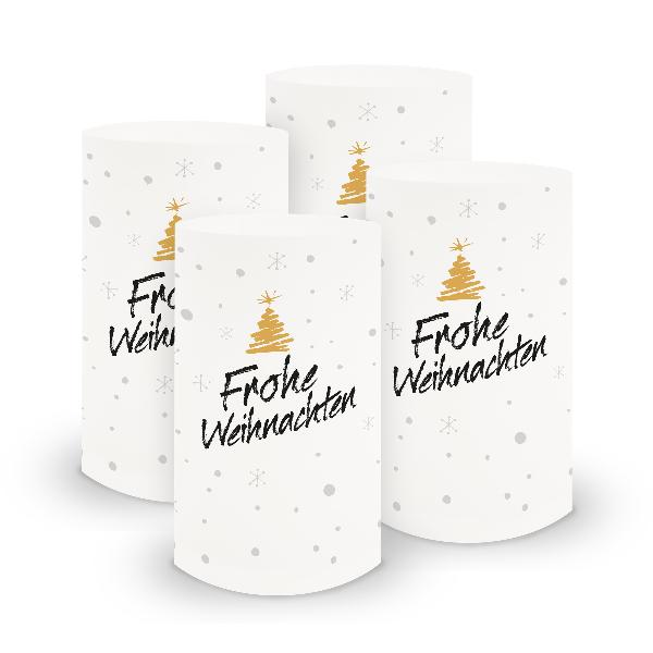 itenga 6x Windlicht klein Frohe Weihnachten für Winter A...