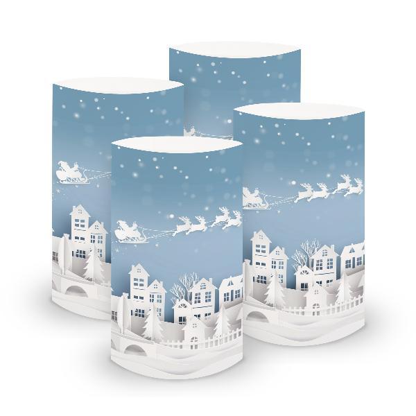 itenga 6x Windlicht klein Dorf für Weihnachten Winter Ad...