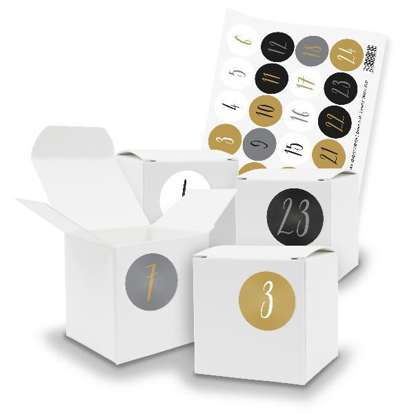 itenga SET V69 Adventskalender Würfelbox klein, Weiß + Z...
