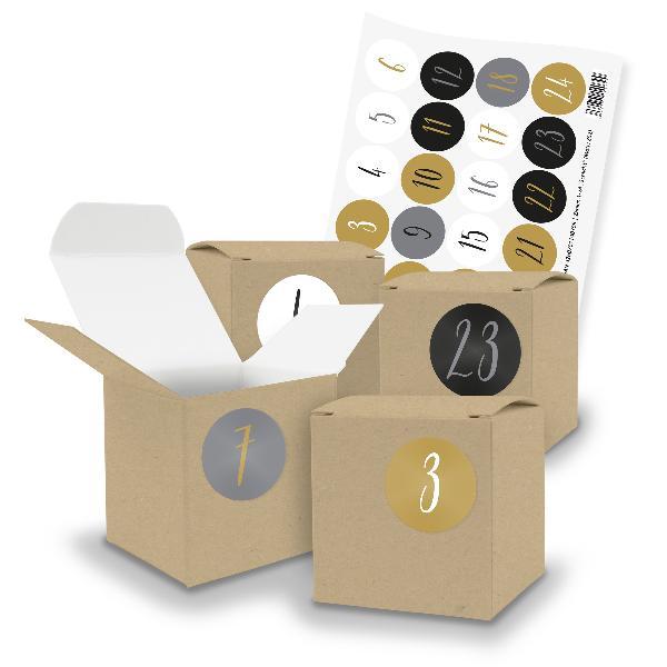 itenga SET V70 Adventskalender Würfelbox klein, Braun + ...