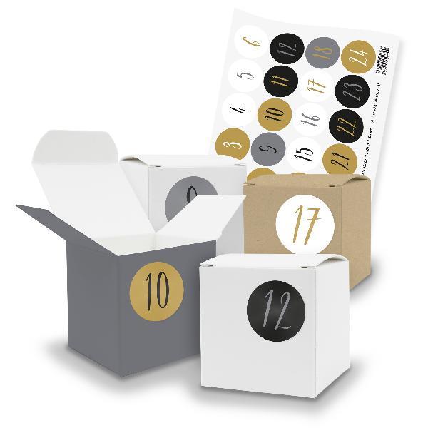 itenga SET V16 Adventskalender Würfelbox klein, Braun Gr...