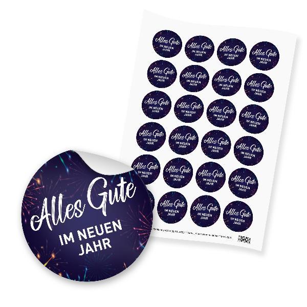 itenga 24x Sticker Aufkleber Alles Gute im neuen Jahr  F...