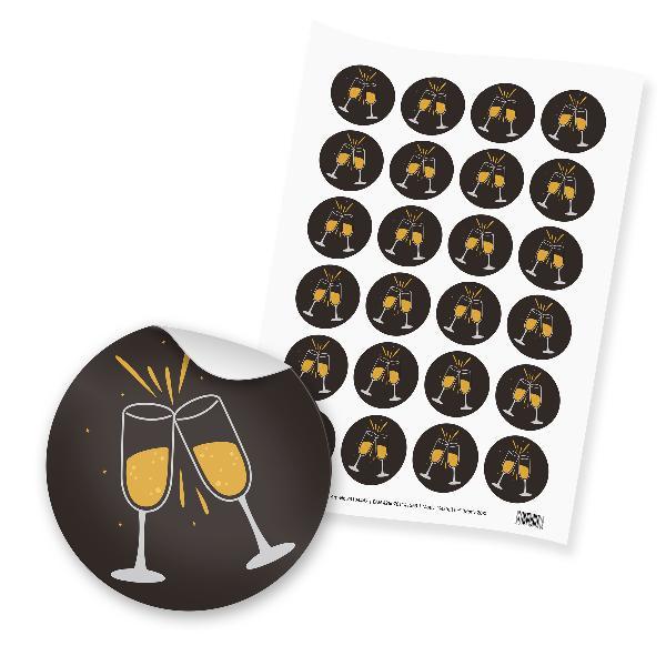 itenga 24x Sticker  Sektgläser schwarz weiß gold (Motiv ...