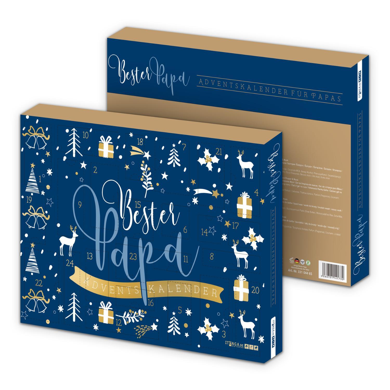 itenga Adventskalender gefüllt Bester Papa Blau Gold