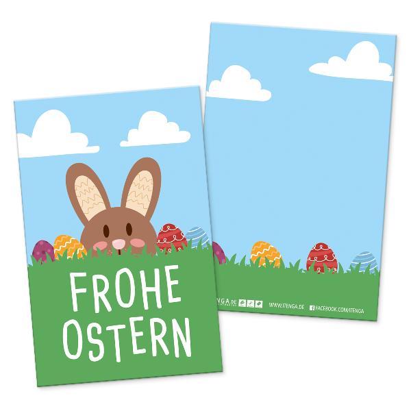 itenga 24 x Geschenkekarten Frohe Ostern Hasenbande in V...