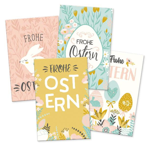 itenga 24 x Geschenkekarten Frohe Ostern Mix 4 Motive pa...