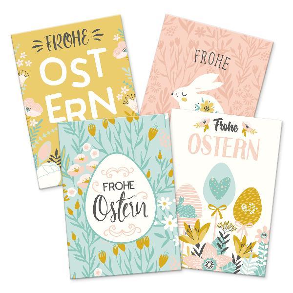 itenga 12 x Postkarte Grußkarte Frohe Ostern Mix mit 4 M...