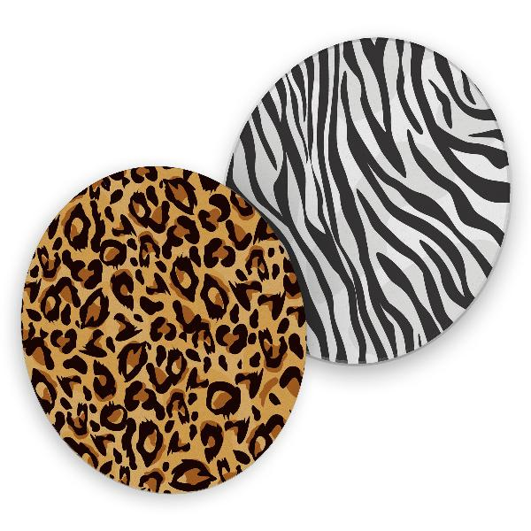 itenga 40x Bierdeckel rund Tiermuster Zebra und Leopard