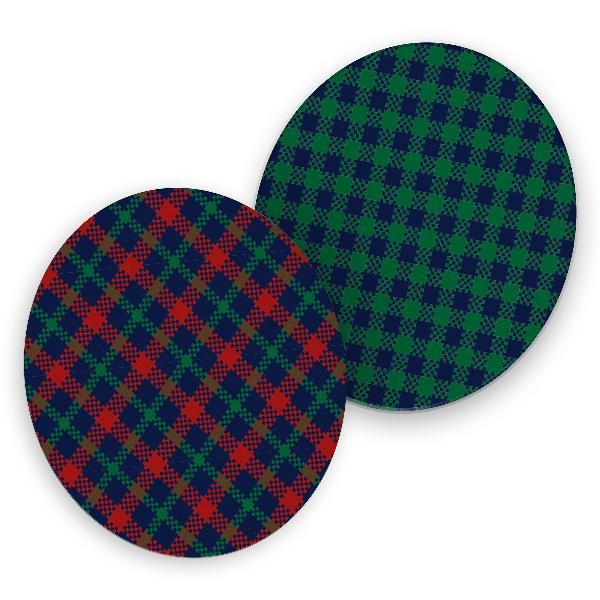 itenga 40x Bierdeckel rund  Schottische Karos blau rot grün