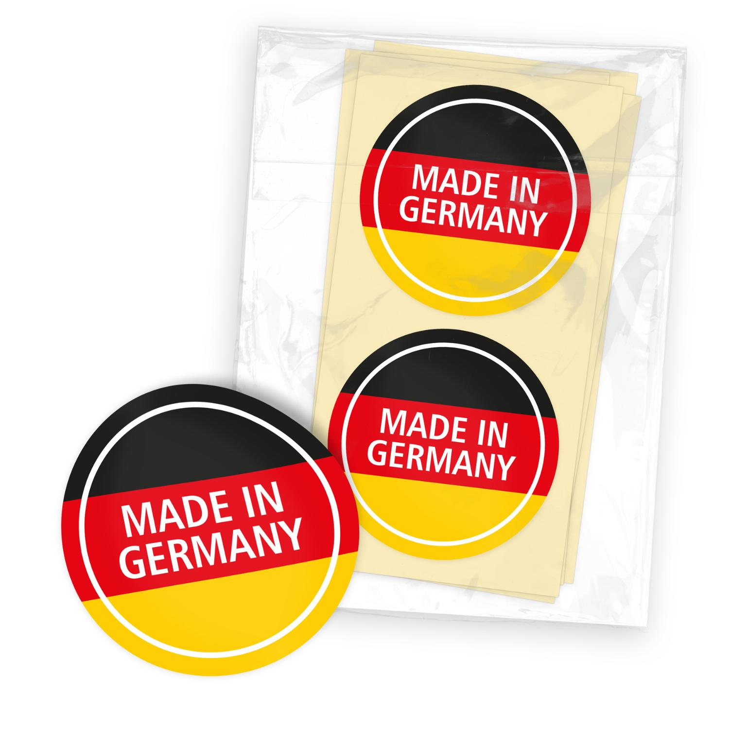 itenga 24x Sticker mit Text Made in Germany rund 4cm