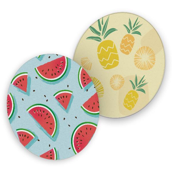 itenga 40x Bierdeckel rund Sommer Früchte Melone Ananas