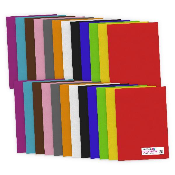 itenga Fotokarton - A4 300 g/qm  24 Blatt sortiert - Far...