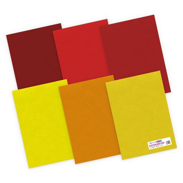 itenga Fotokarton - A4 300 g/qm 24 Blatt - Gelb und Rott...