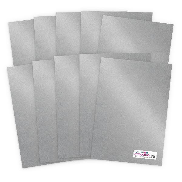 itenga Fotokarton - A4 300 g/qm  10 Blatt Silber glänzend
