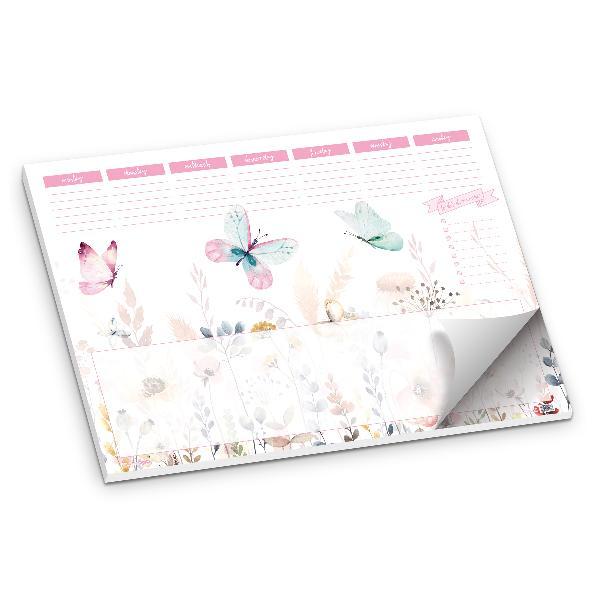 itenga Schreibtischunterlage Schmetterling DIN A2 50 Blatt