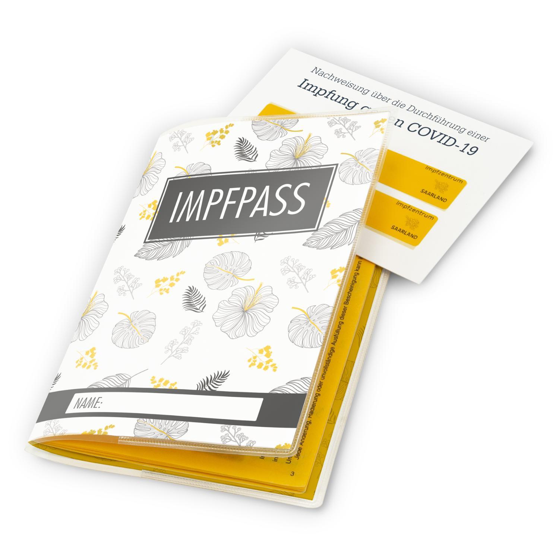 itenga Design Impfpasshülle Motiv Blätter schwarz gelb weiß