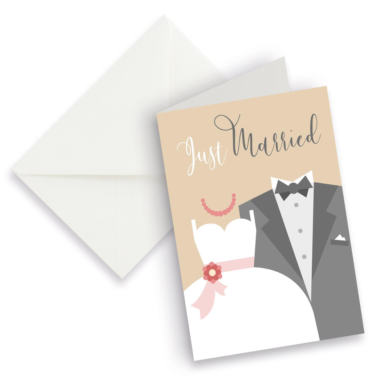 itenga XXL Klappkarte DIN A4 Just Married Brautpaar Hoch...