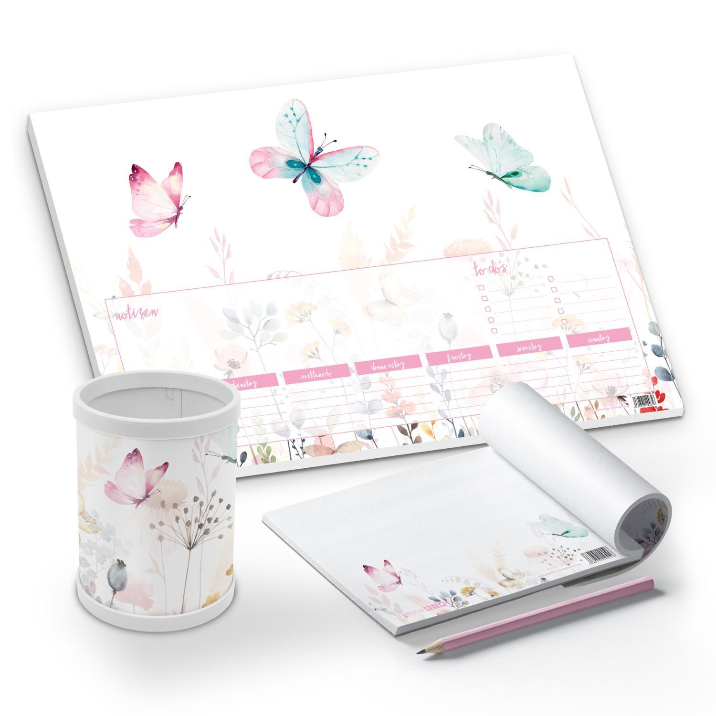 itenga Schreibtisch-Set Schmetterling 3-teilig Schreibti...
