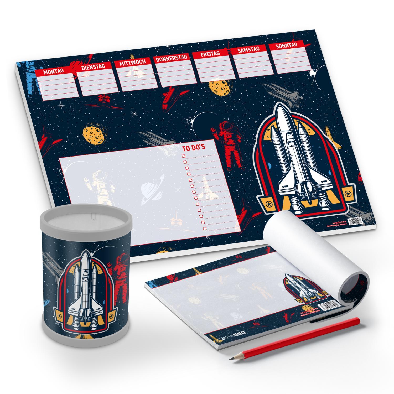itenga Schreibtisch-Set Weltraum 3-teilig Schreibtischun...