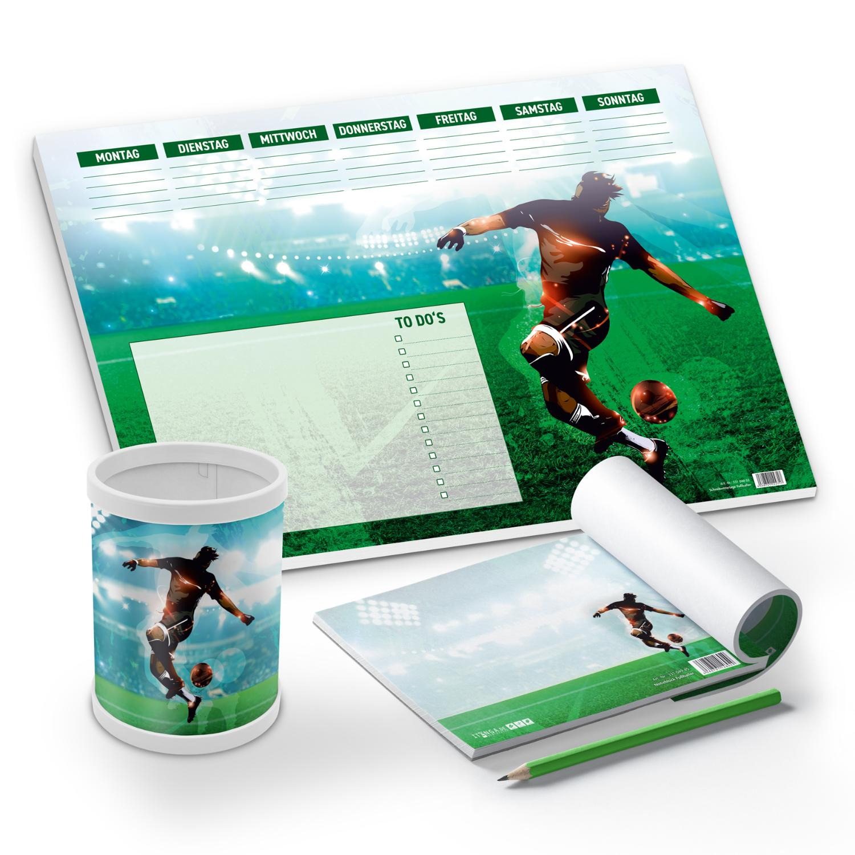 itenga Schreibtisch-Set Fußball 3-teilig Schreibtischunt...