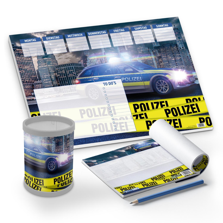 itenga Schreibtisch-Set Polizei 3-teilig Schreibtischunt...