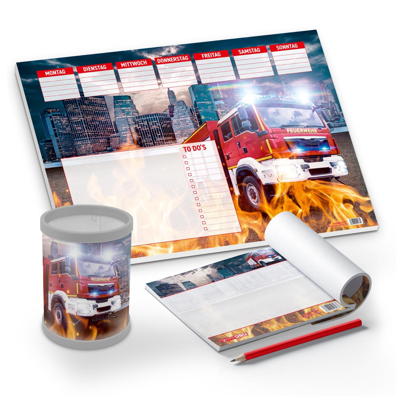 itenga Schreibtisch-Set Feuerwehr 3-teilig Schreibtischu...