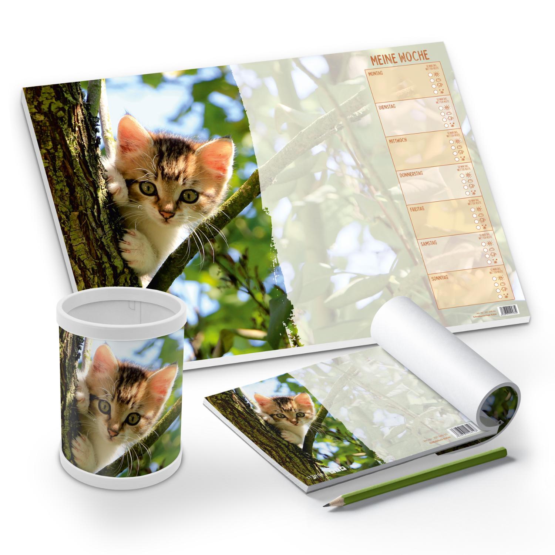 itenga Schreibtisch-Set Katze 3-teilig Schreibtischunter...
