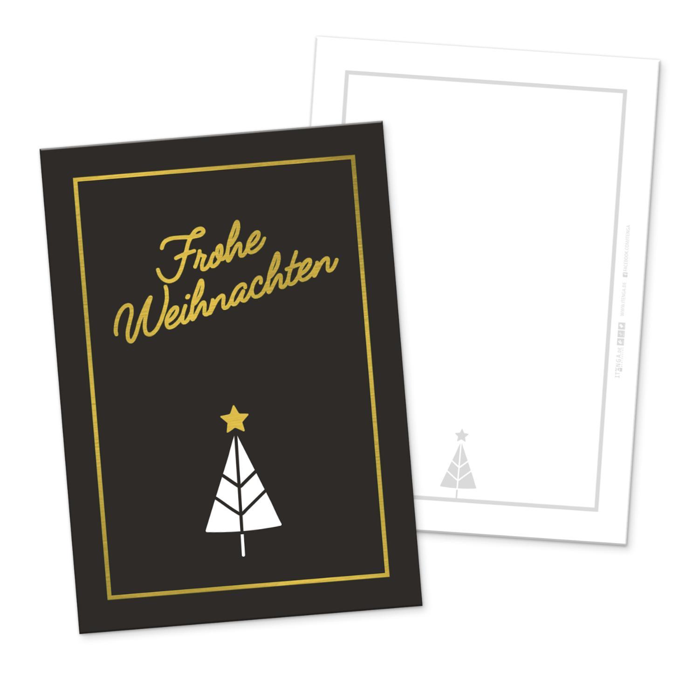 itenga 12 x Postkarte Grußkarte Frohe Weihnachten schwar...