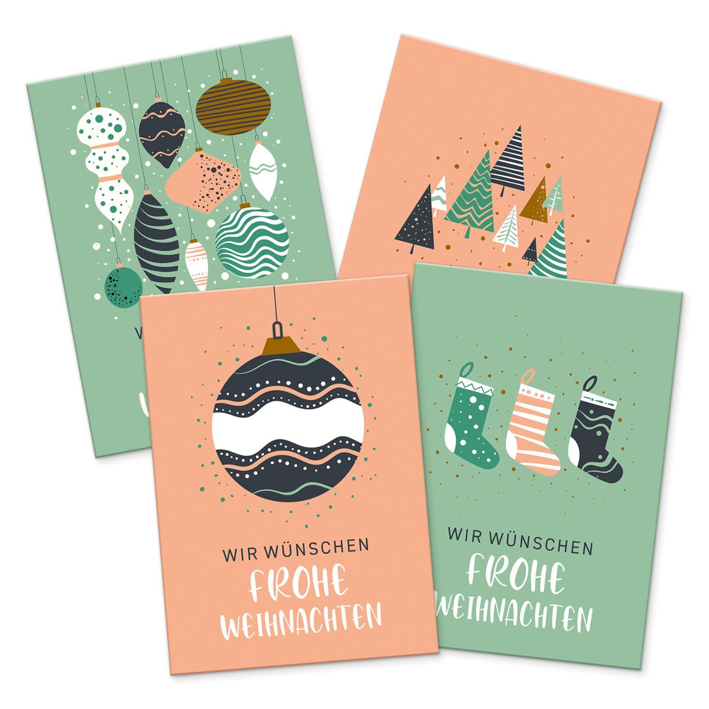 itenga 12 x Postkarte Grußkarte Frohe Weihnachten Weihna...