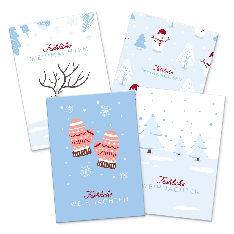 itenga 12 x Postkarte Grußkarte Frohe Weihnachten Winter...
