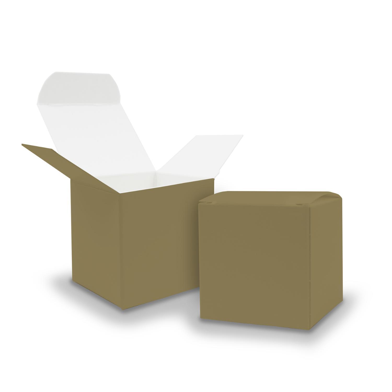 10x itenga Würfelbox aus Karton 6,5x6,5cm gold